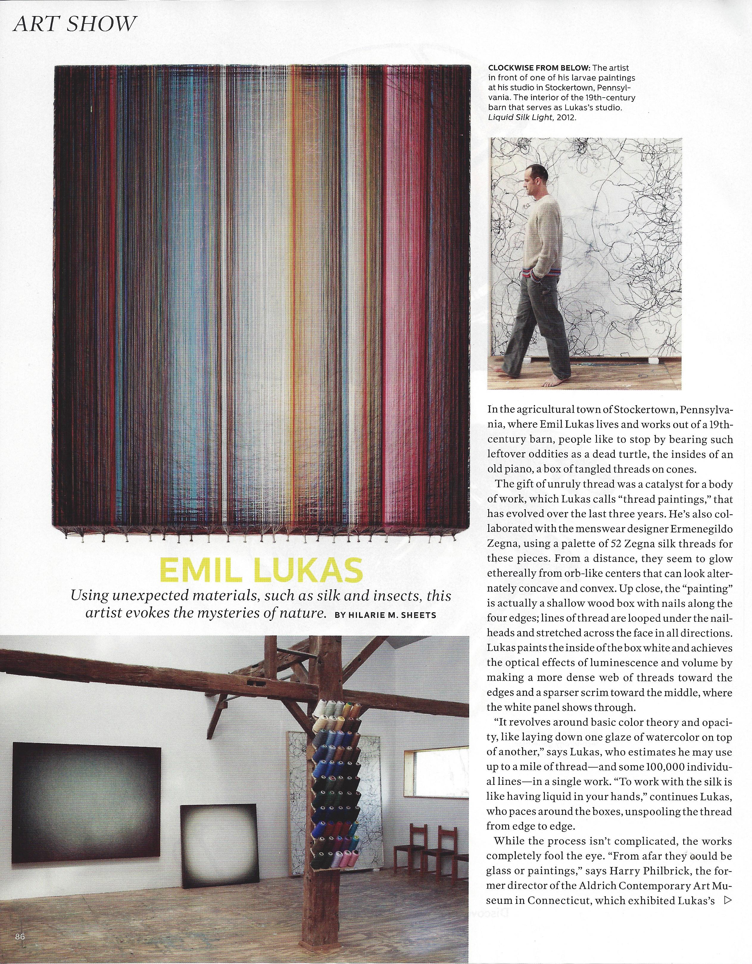 Emil Lukas in Elle Decor, pg 86